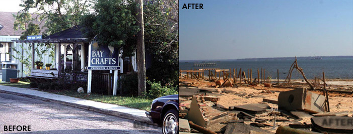 Before and After Look at Beach Boulevard in Bay St. Louis, Mississippi