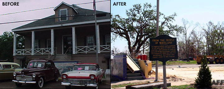 Before and After Waveland City Hall